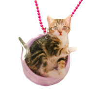 Adorable Baby Kitty Cat in a Food Bowl Animal Shaped Pendant Necklace
