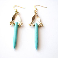 Turquoise Spike Earrings by theblackfeather on Etsy