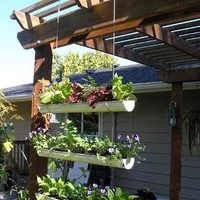 How To Make a Hanging Gutter Garden aHa! Home &amp; Garden | Apartment Therapy New