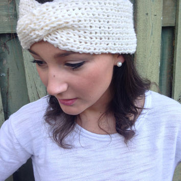 Wide Off-White Turban Twist Headband Knitted Turban Headband Earwarmer for Women, Girls, or Toddlers