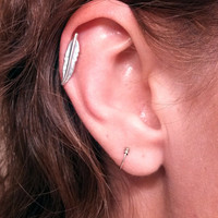 Silver Tribal Feather Cartliage Earring Piercing Tragus