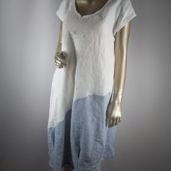 Linen, cotton,white,blue, Lagenlook, bubble hem,dress, sizes XS-3XL. Free shipping in the USA.
