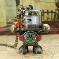 Robot pocket watch necklace with a compass and antique by mosnos