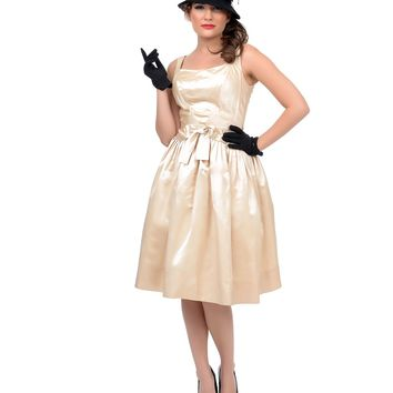 1950s Authentic Vintage Champagne Satin Sleeveless Party Dress - Authentic Vintage - Clothing