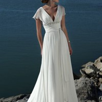 Romantic Simple V-Neckline Beading Sash Sweep Train Zip With Button Chiffon Wedding Dresses