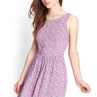 FOREVER 21 Cutout Back Floral Dress Cream/Grey