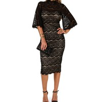 Black Vintage Lace Midi Dress