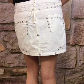 Off White Studded Skirt - SKI095WH