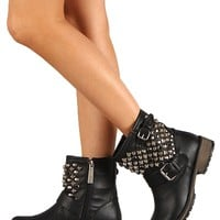 Breckelles Rocker-24 Leatherette Studded Buckle Round Toe Bootie - Black