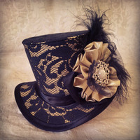 "4"" top hat - Steampunk, Dieselpunk, Burlesque, Retro, Hollywood, Vintage, Victorian, Art Deco, Alternative, Kitsch, Offbeat, pure silk"