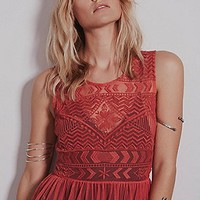 Intimately Womens Geo Embroidered Fit and Flare