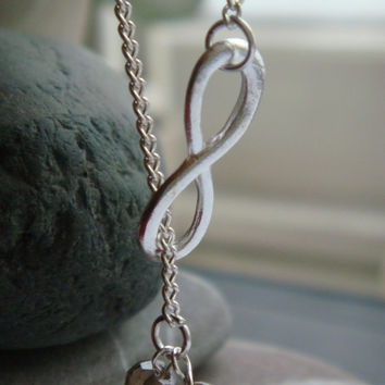 Infinity necklace, swarovski pendant, silver Infinity, swarovski necklace, Infinity, UK seller