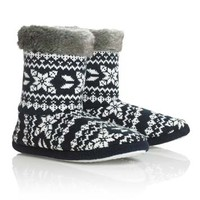 Long Tall Sally Slippers For Tall Women - Fur Trim Fairisle Slipper Boot In Blue