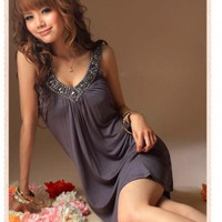 Sexy and High Quality V-Neckline Sleeveless Grey Dress One Size | paradise - Clothing on ArtFire