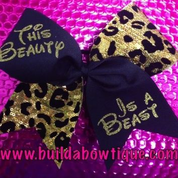 Beauty is a Beast- Cheetah: Rhinestone Cheer Bows, Sequin, Glitter, Monogram & Custom Cheer Bows