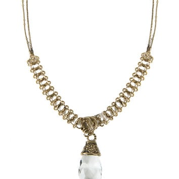 Vintage Chained Stone Necklace - Clear