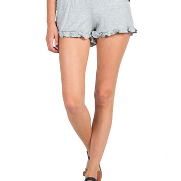 Solid Ruffle Bottom Lounge Shorts - Light Gray - Light Gray /