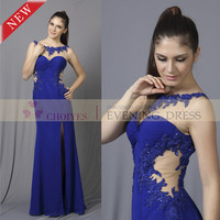 New Long Lace Dress 2014 Royal Blue Backless High Leg Slit Embroidered Lace Jersey Knit Prom Dress, View Prom lace dress 2014, Choiyes Evening Dress Product Details from Chaozhou Choiyes Evening Dress Co., Ltd. on Alibaba.com