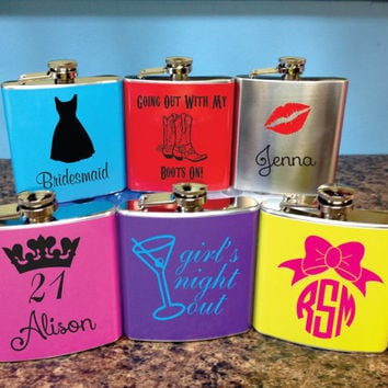 Custom Women's Flask- Great for Brides, Bridesmaids, 21 year olds, Birthdays, College Students, and Gifts