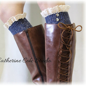 NORDIC WOODS Denim Tweed Boot socks tall boot socks leg warmers knit boot socks knee socks womens lace socks  Catherine Cole Studio BKS2BL