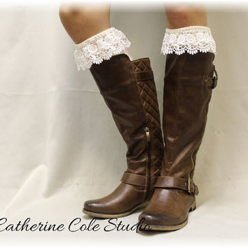 SCARLETT ROSE Ivory Lace boot socks womens boot socks boot socks tall boot socks knee socks tall lace socks Catherine Cole Studio BKS7