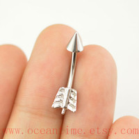 little arrow Belly Button Rings,silver arrow belly button jewelry,brave Navel Jewelry,friendship bellyring,oceantime