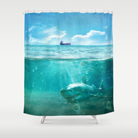 Blue Shower Curtain by SensualPatterns