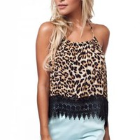 Lace Trimmed Cheetah Top
