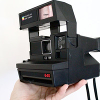 Vintage Polaroid Camera  Black Polaroid 600 Land by MaejeanVINTAGE