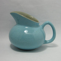 Vintage Pitcher Vase Turquoise Blue Speckled Pottery by QuietRainz