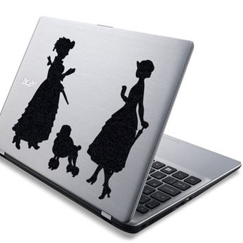 Victorian Ladies Art Wall Stickers - Cute Laptop Decals Stickers - Velvet Fabric Poodle Decor - Poodle Decal