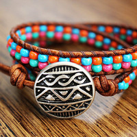 Tribal Bracelet Leather Beaded Wrap Bracelet 2x by theredparachute