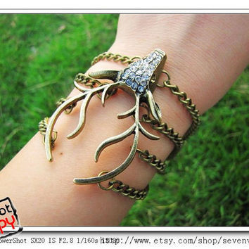 10OFF Discount Vintage elk bracelet with by sevenvsxiao on Etsy