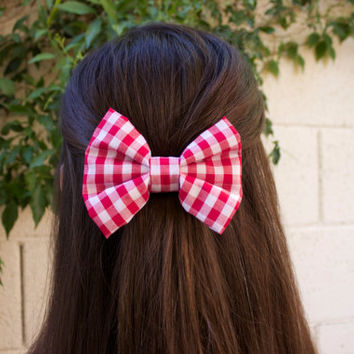 Red Plaid Hair Bow