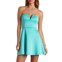 PLUNGING SWEETHEART SKATER DRESS