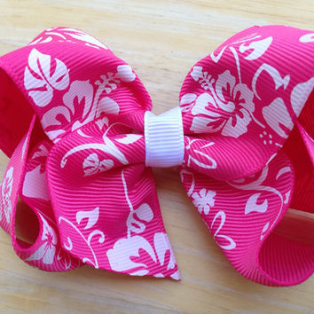 4 inch hibiscus flower bow - pink flower hair bow, Hawaiian hair bow