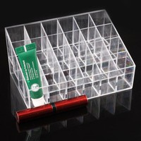 JOVANA Clear Cosmetic Stand 24 Lipstick Organizer Nail Polish Makeup Case Display Rack Holder