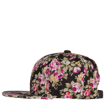Adjustable Floral Cap - Black