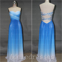 Open Back Royal Blue Ombre Prom Dress 2014,Custom Made Long Ombre Prom Dresses,A Line Sweetheart Evening Prom Gown,Sexy Graduation Dress