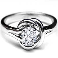 European Engagement Ring - Love Knot Solitaire Oval Diamond Engagement Ring 0.25 Carat - ER40OV