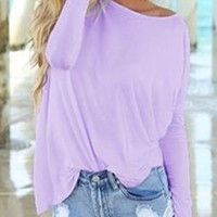 Lavender Piko Bamboo Long Sleeved T-Shirt Loose Slouch Boat Neck Classic