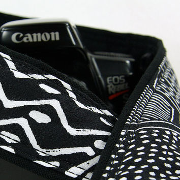 dSLR Camera Strap, Tribal in Black and White, SLR, Geometric