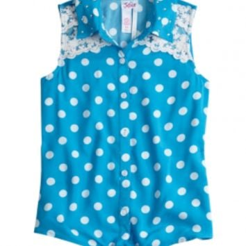 Dot & Lace Tie Front Shirt | Girls Tanks & Camis Clothes | Shop Justice