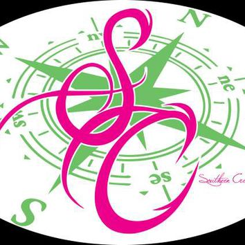 Southern Cross Apparel - Product Details | 5 x 8 SCA Compass Decal Pink/Green | Decals | Southern Cross Apparel