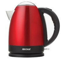 AROMA AWK-125R 7-Cup Stainless Steel Electric Kettle, Red