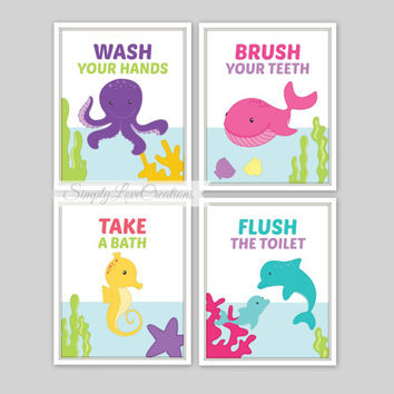 Sea bathroom prints set of 4prints from for Under the sea bathroom ideas