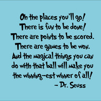 Dr Seuss Wall Decal &#x27;Oh The Places You&#x27;ll Go&#x27; Quote by InitialYou