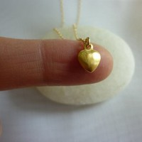 Tiny Gold Puffed Heart Necklace-small Gold Heart Necklace-gold Heart Necklace-small Puffy Heart Neck | Luulla