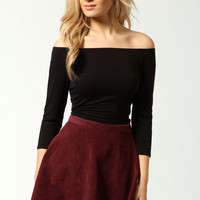 Shirley Off The Shoulder 3/4 Sleeve Crop Top