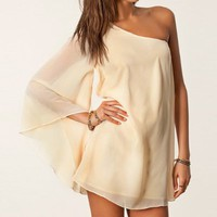 MP Beige One Shoulder Chiffon Dress 051318 C0529